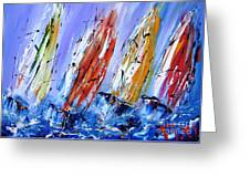 Four Sails To Four Winds Available As A Signed And Numbered Print On Canvas See Www.pixi-art.com Greeting Card