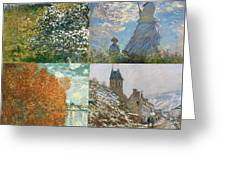 Four Seasons A Collage Of Monets Greeting Card