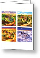 Four Seasons On The Farm Squared Greeting Card