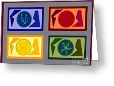 Four Tiles Greeting Card