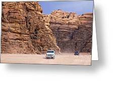 Four Wheel Drive Vehicles At Wadi Rum Jordan Greeting Card