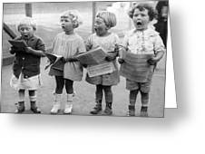 Four Young Children Singing Greeting Card
