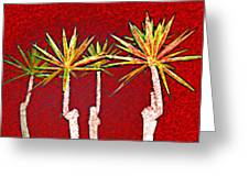 Four Yuccas In Red Greeting Card