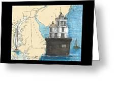 Fourteen Ft Bank Lighthouse De Nautical Chart Map Art Greeting Card