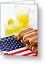 Fourth Of July Hot Dogs And Lemonade Greeting Card by Amy Cicconi