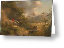 Fox Hunting In Hilly Country Greeting Card