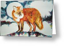 Fox In The Moon Greeting Card