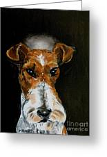 Fox Terrier Angel Greeting Card by Jay  Schmetz