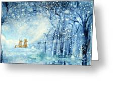 Foxes In The Snow Greeting Card