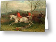 Foxhunting Coming To A Fence Full Cry Signed And Dated Greeting Card