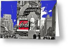 Fr. Duffy Statue Prior To Unveiling Coca Cola Sign Times Square New York City 1937-2014 Greeting Card