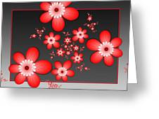 Fractal Cheerful Red Flowers Greeting Card