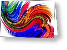 Fractal Colors On White Greeting Card