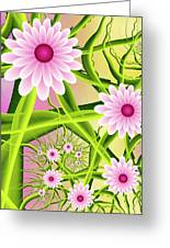 Fractal Fantasy Neon Flower Garden Greeting Card