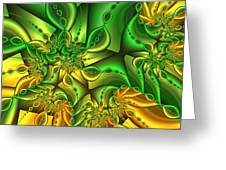 Fractal Gold And Green Together Greeting Card