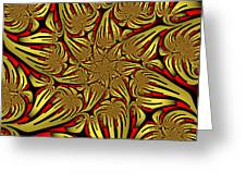 Fractal Golden And Red Greeting Card