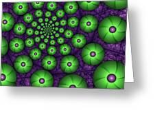 Fractal Green Shapes Greeting Card