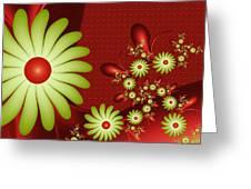 Fractal Happy Flowers 2 Greeting Card