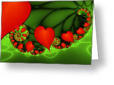 Fractal Hearts In The Discothec Greeting Card