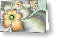 Fractal Nostalgic Flowers Greeting Card