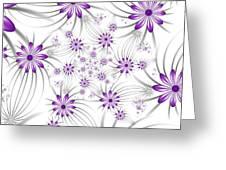 Fractal Purple Flowers Greeting Card