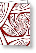 Fractal Red And White Greeting Card