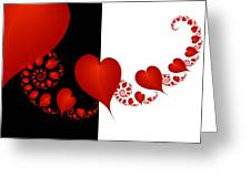 Fractal Red Hearts Greeting Card
