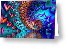 Fractal Sea Of Love With Hearts Greeting Card
