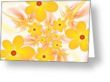 Fractal Yellow Flowers Greeting Card