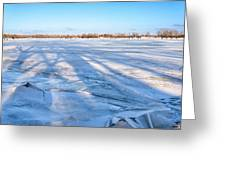 Fractured Ice On The River Greeting Card