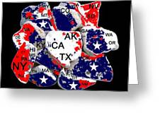 Fragmented States Of The Union Greeting Card by Bruce Iorio