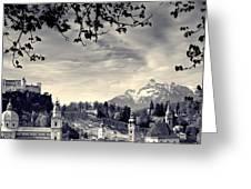 Framed View Of Salzburg From Kapuzinerberg Greeting Card