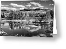 Franconia Ridge Reflection B And W Greeting Card