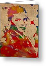 Frank Sinatra Watercolor Portrait On Worn Distressed Canvas Greeting Card