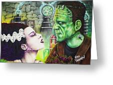 Frankenstein And The Bride Greeting Card
