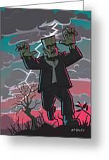 Frankenstein Creature In Storm  Greeting Card