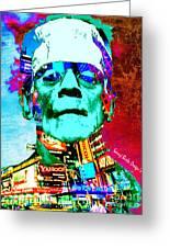 Frankenstein Visits Times Square Greeting Card