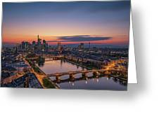 Frankfurt Skyline At Sunset Greeting Card