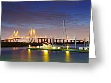 Fred Hartman Bridge From Bayland Marina - Houston Texas Greeting Card