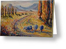Free State Landscape With Guinea Fowl Greeting Card