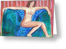 Dare To Be Bare In A Big Green Chair Greeting Card