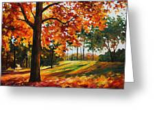 Freedom Of Autumn - Palette Knife Oil Painting On Canvas By Leonid Afremov Greeting Card