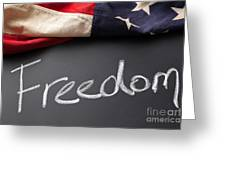 Freedom Sign On Chalkboard Greeting Card