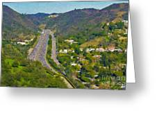 Freeway Sepulveda Pass Traffic Bel Air Crest California Greeting Card