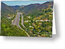 Freeway Sepulveda Pass Traffic Bel Air Crest California Greeting Card