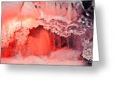 Freezing Waterfall Glowing In Red Light Greeting Card