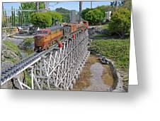 Freight Train Bridge Crossing Greeting Card