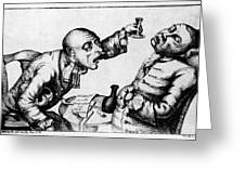 French 18th Century Engraving Of Two Alcoholics Greeting Card