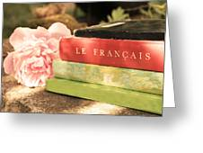 French Books And Peony Greeting Card
