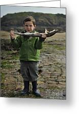 French Boy With Fish Greeting Card